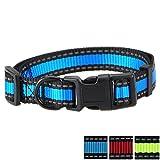 Mile High Life Nacht Reflektierende 2 Streifen 3 Colorways Nylon Hundehalsband (Blau/Schwarz, Kleiner Hals 30.5cm - 43cm - 9KG)