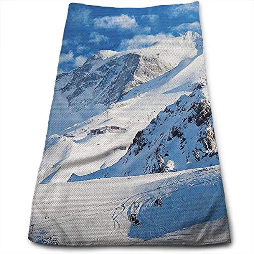 Mountain Landscape Ski Multi-Purpose Microfiber Towel Ultra Compact Super Absorbent and Fast Drying Sports Towel Travel Towel Beach Towel Perfect for Camping, Gym, Swimming.