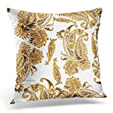 Throw Pillow Cover Paisley Floral Watercolor Painting Ethnic Gold Vintage White Monochrome Color Drawing Leaves Flowers Decorative Pillow Case Home Decor Square 18x18 inches Pillowcase