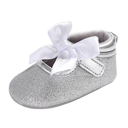 manadlian Chaussures Bébé Chaussure Premier Pas Fille Blanc Chaussures de Bébé Baptême Semelle Souple