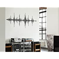 """I-love-Wandtattoo WAS-10957 Living room music wall tattoo """"Equalizer sound curve"""" decoration for gluing music lounge sheet music wall sticker music motif microphone sticker music lines XXL"""