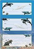 Herma 5579 Buchetiketten Schule, Motiv Delfine, Inhalt: 6 Heftetiketten für Schulhefte, Format 7,6 x 3,5 cm, beglimmert