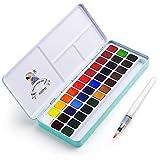 MeiLiang Aquarellfarben Set, 36 Leuchtende Farben in Pocket Box mit Metallring und Bonus Aquarellpinsel, Perfekt für Studenten, Kinder, Anfänger und Mehr