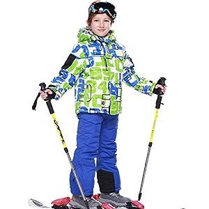 LSHEL Skianzug Jungen Mädchen Skianzüg Kinder Schneeanzug Wasserdicht Winddicht Skijacke und Skihose