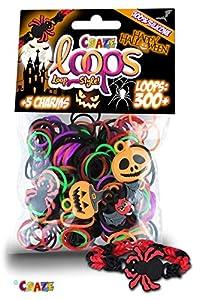 CRAZE Loops Halloween Foilbag Set 300 Knüpfringe + 5 Charms Silikonarmband für Kinder 51611 Hallowe 51611-Juego Anillos y Pulsera de Silicona para niños, Color carbón