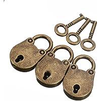3Old Vintage Antik Style Mini Vorhängeschlösser Schloss mit Schlüssel