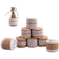 Gutodra 8 rollos Cinta Arpillera con Encaje Blanco de 5cm*2m 8 Motivos Diferentes para Manualidades Fabricación de Artesanías Boda Decoraciones