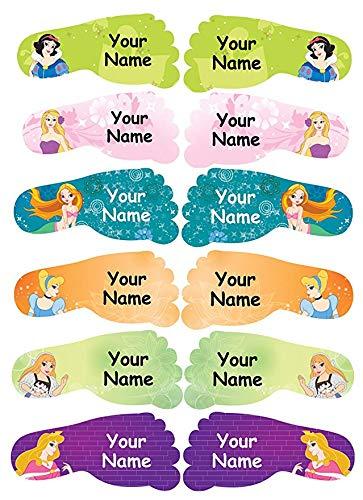 36 Individuell personalisierte, wasserfeste klebende Namensetiketten für Schuhe der Kinder (50x22mm) - Prinzessin Design