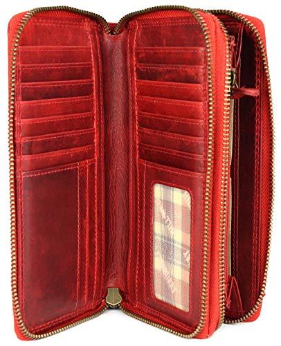Hill Burry hochwertige XXL Vintage Leder Damen Geldbörse Portemonnaie langes Portmonee Geldbeutel Organizer aus weichem Leder mit extra vielen Fächern inkl. RFID in rot - 20x11x3,5cm (B x H x T)