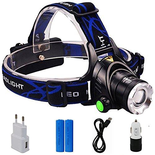 Preisvergleich Produktbild Boruit LED Stirnlampe USB Kopflampe Wiederaufladbar XM-L T6 LED-Scheinwerfer Taschenlampe Superhell 2000 LM 2*4000mAh 18650 Akkusfür Wandern Camping Jagd Klettern usw.