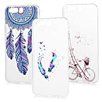 Huawei P10 Clear Case MAXFE.CO Colorful Painting Crystal Clear Case [Ultra Slim] [Thin Soft] TPU Case Flexible Silicone Back Shell Lightweight Anti-Slip Shockproof Durable Case For Huawei P10 (Package Includes 3 x Cell Phone Case) - Feather & Tower & Wind