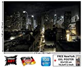 GREAT ART Fototapete - Manhattan New York - Skyline Nacht Wandbild Dekoration Amerika Wanddeko USA Motivtapete Großstadt Skyscraper Foto-Tapete Wandtapete Fotoposter Wanddeko (210 x 140 cm)