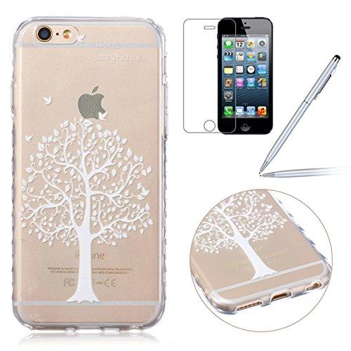 iPhone 6S plus Hülle,iPhone 6S plus Case, iPhone 6 plus Silikon Cover - Felfy Ultra Slim Klare Transparent Gel Klar Crystal Durchsichtig Flexible Elastisch Biegsam weißer Schmetterling Muster Schutzhü Weiß Kirschbaum