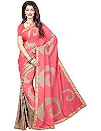 Ishin Poly Georgette Pink & Beige Half & Half Printed Women's Saree/Sari With Lace