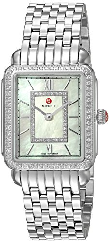 MICHELE Women's 'Deco II' Swiss Quartz Stainless Steel Casual, Color:Silver-Toned (Model: Full Watch: MWW06I000001)