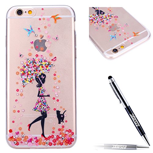 JAWSEU iPhone 7 Coque Liquide Pailletee,iPhone 7S Plastique Etui Transparente Dur Étui Brillant Flash Étoile Love Amour Star Bling Diamant Strass Motif 2017 Neuf Style Liquid Flowing Sables Mouvants P Fille 1