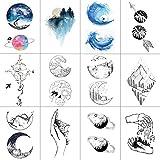 WYUEN 12 Teile/los Berg Planet Temporäre Tattoo Aufkleber für Frauen Männer Gefälschte Tätowierung Körperkunst Erwachsene Wasserdichte Aufkleber 9,8X6 cm W12-20
