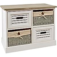 ts-ideen Cómoda estantería armario de madera estilo de la alquería rustico shabby para baño pasillo cocina sala blanco gris - Muebles de Dormitorio precios