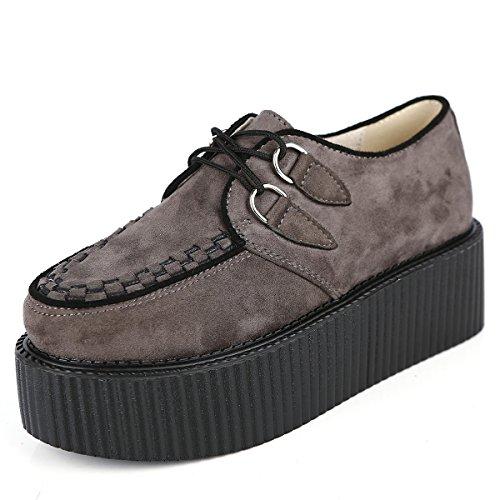 RoseG Damen Schnürschuhe Flache Plateauschuhe Gote Punk Creepers Schuhe Grau Size42