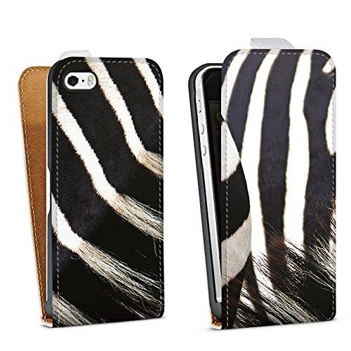 DeinDesign Tasche kompatibel mit Apple iPhone 5 Flip Case Hülle Zebra Dschungel Animal Print -