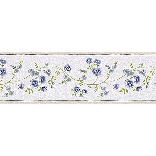 Tapetenbordüre Borte Blume Ranke blau Petite Fleur 285498