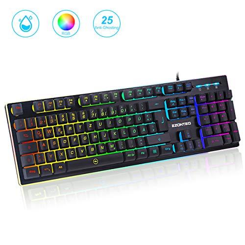 G010 Ergonomische RGB Gaming Tastatur wasserdicht LED Keyboard Tastenkappen schwarz Gaming-Tastaturen für PC, Bussiness, 25 Tasten Anti-Ghosting(QWERTZ, Deutsches Layout), Gaming 8 Farben Beleuchtung