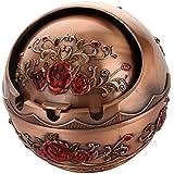 Phenovo Stainless Steel Metal Ashtray Holder Home Living Room Decor 3 Types - Red Rose, 9.5x10cm