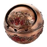 Sharplace Edelstahl Aschenbecher, Metall Tisch Ascher für Garten Terrasse Balkon - Rote Rose, 9.5x10cm