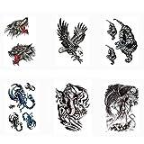 Pinkiou Adesivi Tattoo Set Tattoo Art Tattoo Temporaneo impermeabile adesivi tatuaggio per Uomini Donna, lupo, tigre, aquila, elefante, scorpione, strega (pacchetto di 6)