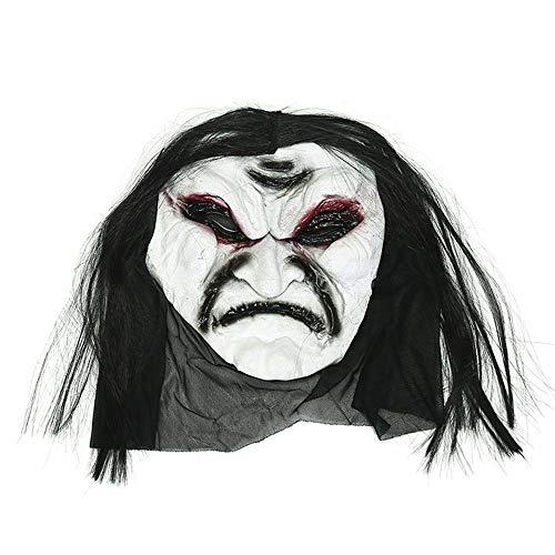WHFDRHWSJMJ Halloween Maske LED Light Horror Maske Latex Halloween Maske Scary Schwarz Lange Haare Blooding Geister Masken Cosplay Halloween Kostüme Party Requisiten, ()