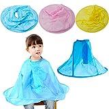 Manyo Coiffeur pour enfants Cape en tissu Cape de coupe de cheveux Coupe de cheveux pour enfants Imperméable Tablier Manteau Vêtements (Bleu)