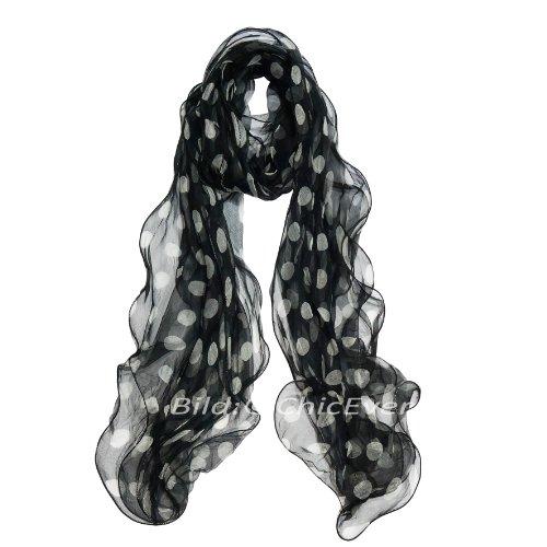 Schöner Chiffon Schal aus 100% Seide, Seidenschal, mit Punkt, 3 lagig, 25x180cm, schwarz weiß 3158