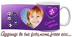 Idea Regalo - Tazza Fiorentina cuore Viola Personalizzata con nome,frase,foto ecc Idea Regalo