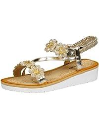 c0d801e9206 Feet First Fashion Vesta Womens Low Wedges Heel Open Toe Sandals Ladies  Pearl Floral Diamante Shoes
