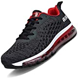 Men Women Running Shoes Air Cushion Sports Trainers Shock Absorbing Sneakers for Walking Gym Jogging Fitness Athletic Casual(Black.R/HK78,11 UK)