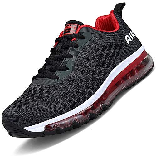 Mabove Laufschuhe Herren Damen Turnschuhe Sportschuhe Straßenlaufschuhe Sneaker Atmungsaktiv Trainer für Running Fitness Gym Outdoor(Schwarz.R/HK78,43 EU)