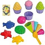 Sandspielzeug: 4 Sandförmchen + 5 Eistüten + 1 Portionierer + 8tlg. Cup Cake Set Sandkasten