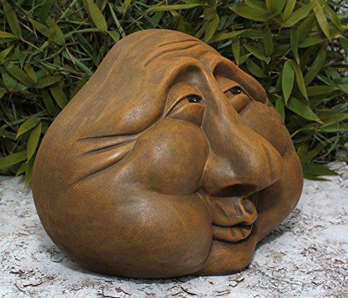 Steingesicht Steinkopf in Hellbraun, frostsichere Deko-Figur für den Garten