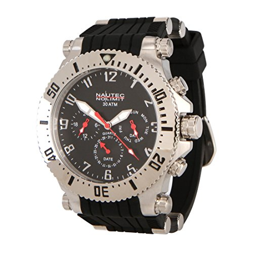 Nautec No Limit men's Quartz Watch Analogue Display and Rubber Strap STKG-QZ-RBSTST-BK