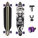 """Feldus 41"""" Longboard DROP THROUGH Skateboard Komplettboard Belastbar bis 100kg mit T-Tool und Wandhalter (Skelett Räder Schwarz mit LED)"""