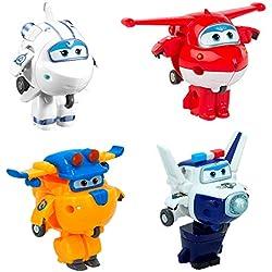 Super Wings - Transform-a-Bots 4 figuras de acción transformables: Jett, Paul, Astra y Donnie (ColorBaby 75866)
