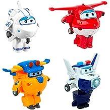 Super Wings - Transform-a-Bots 4 figuras de acción transformables: Jett,