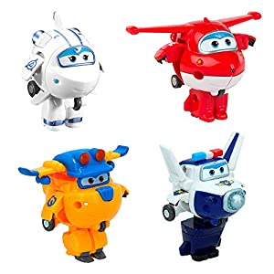 Super Wings - Transform-a-Bots 4 figuras de acción transformables: Jett, Paul, Astra y Donnie (ColorBaby 75866)
