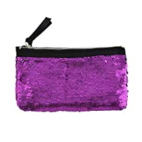 Haodou.Sparkling Cosmetic Bag Reversible Sequin Glitter Pencil Case Shiny Make up Pouch for Girls Teenage Women Travelling