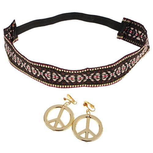 Gazechimp Hippie-Stirnband mit Peace Zeichen (Peace Hippie Ohrringe Zeichen)