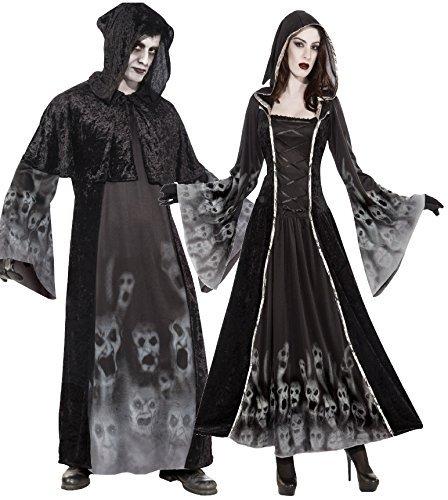 Paar Damen und Herren Gespenstisch Unheimlich Gruselig Soul Reaper Eater Carnival Halloween Kostüm Verkleidung Outfit