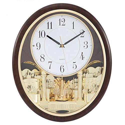 LYM Uhren Wanduhr musikalische Bewegung Musik Melodien Wanduhren Nicht Ticken dekorative Wohnzimmer Dekor Schlafzimmer Stille Nacht groß Wanduhren (Musikalische Bewegung Uhren)