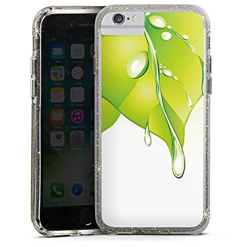 Apple iPhone 7 Plus Bumper Hülle Bumper Case Glitzer Hülle Blaetter Leaves Regentropfen Bumper Case Glitzer gold