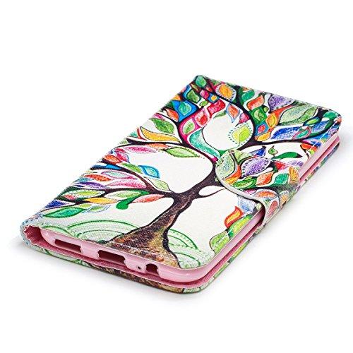 OnePlus 5 Hülle,OnePlus 5 Ledertasche,JAWSEU Cool Smile Leder Flip Magnetverschluss Wallet Handytaschen Schutzhülle Bookstyle Brieftasche Etui Case Cover mit[Ständerfunktion] und [Kartenfächer] für On Painted Baum