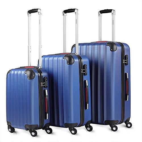 Monzana Valigie Set di 3 pezzi trolley valigie rigide leggere lucchetto bagaglio viaggio blu